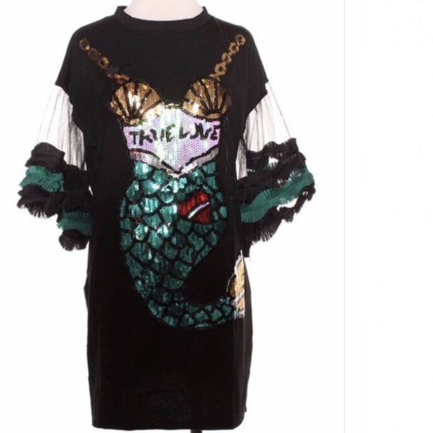 Arial Sequin Mermaid Tail T-shirt Dress