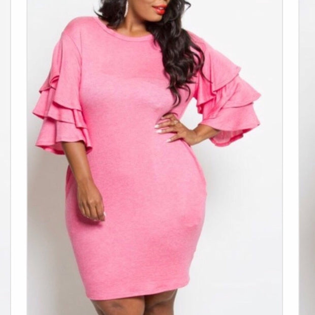 Casual Pink Friday Ruffle Sleeve Dress