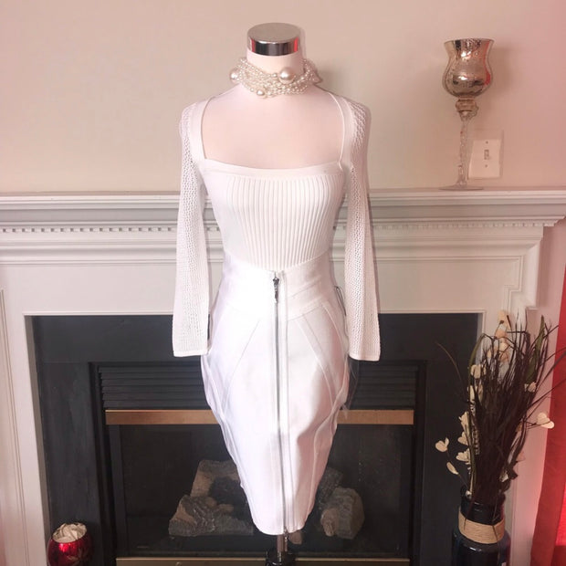Wow Couture White Pencil Bandage Skirt