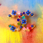 "Double ""C"" Floral Brooch"