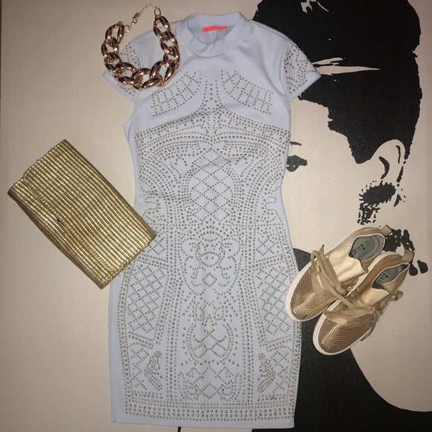 Banjul Golden Studded Bodycon Dress
