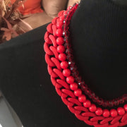 Red Chain & Bead Necklace Set