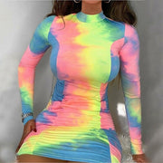 Women Sexy Turtleneck Bodycon Mini Long Sleeve Tie Dye Dress