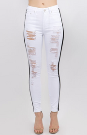 LaDonya White Distressed Jeans
