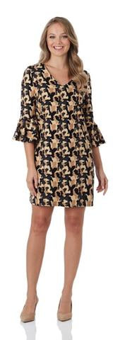 Lyla Dress Ponte Knit in Small Camo by Jude Connally