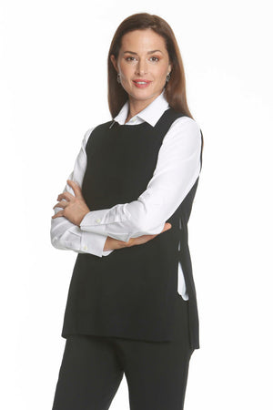 Split Side Vest in Black by J'Envie