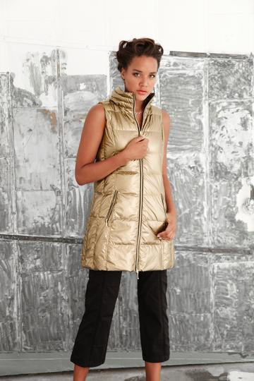 Long Puffer Vest in Gold Metallic by My Anorak
