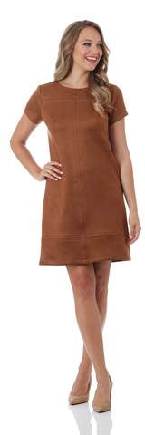 Kayla Dress in Saddle Brown Suede  by Jude Connally