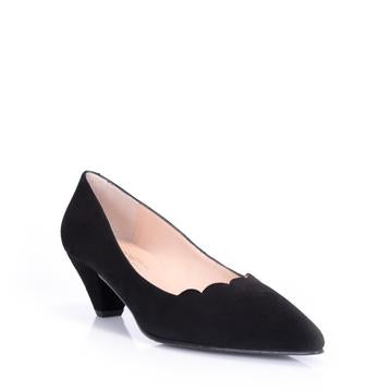 Amaya Kitten Heel Pump in Black Suede by Brenda Zaro
