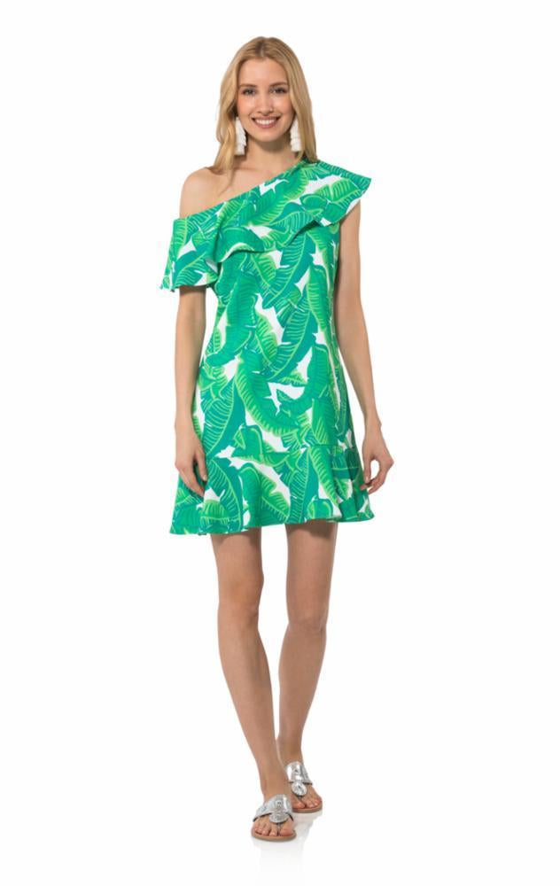 Poly Crepe One Shoulder Dress in Palm Print by Sail to Sable R1823