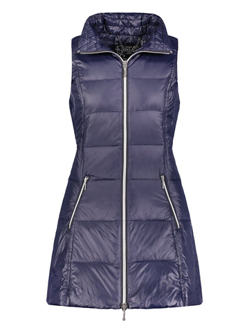 Long Down Filled Puffer Vest in Ink Navy by My Anorak