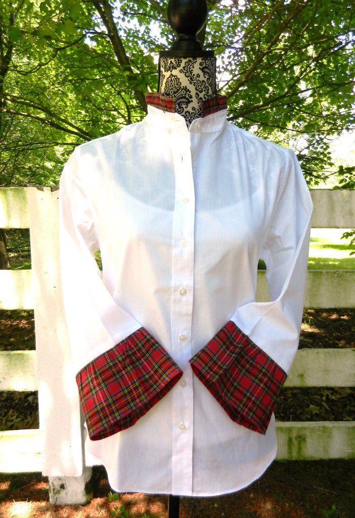 Tally Ho White Shirt with white red green plaid by Pearly Vine