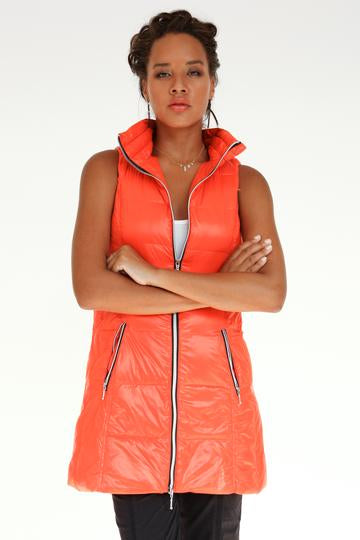 Long Down Filled Puffer Vest in Orange by My Anorak