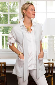 Cashmere Cap Sleeve Cardigan In White by Tyler Boe 24082K