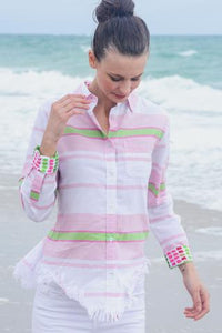 Sun Valley Blouse in Pink and Green stripes by Dizzie Lizzie