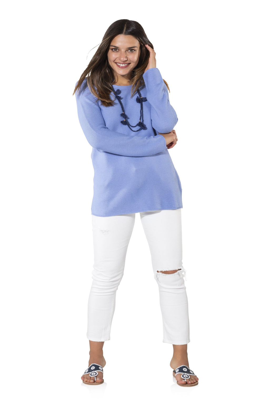 Long Sleeved Sweater in Periwinkle by Sail to Sable