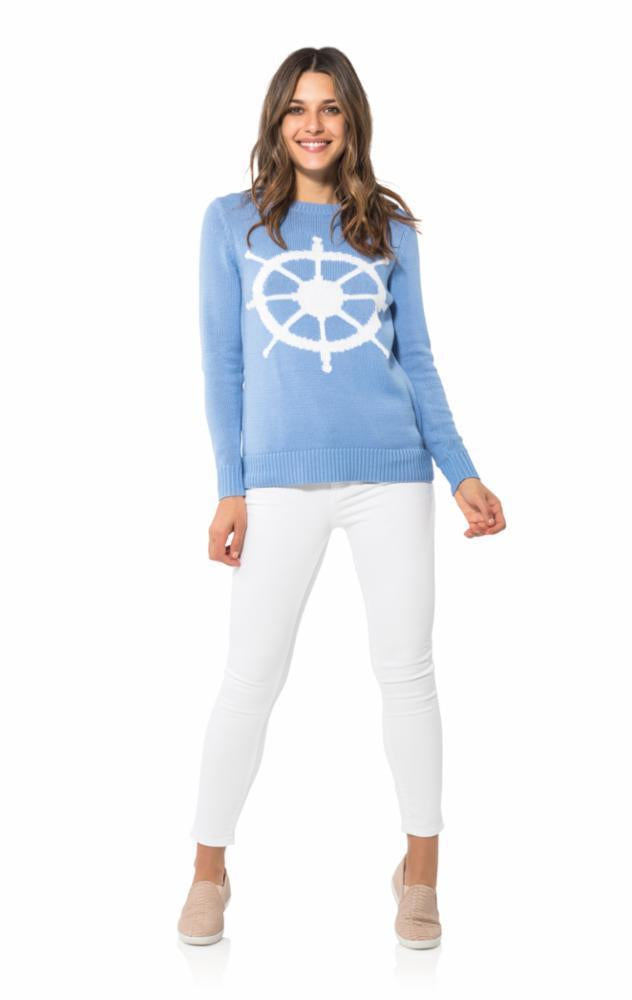 Long Sleeved Intarsia Sweater in Ocean with Wheel by Sail to Sable R1839