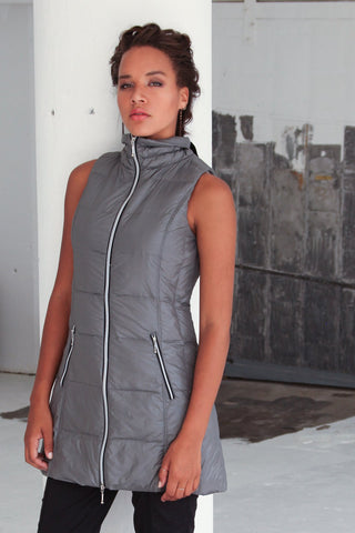 Long Puffer Vest In Gunmetal by My Anorak