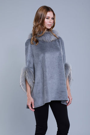Faux Suede Poncho in Grey  by Dolce Cabo