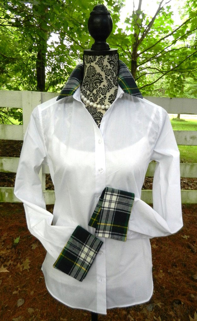 White French Cuff Shirt with Bl/gr cuff by Pearly Vine