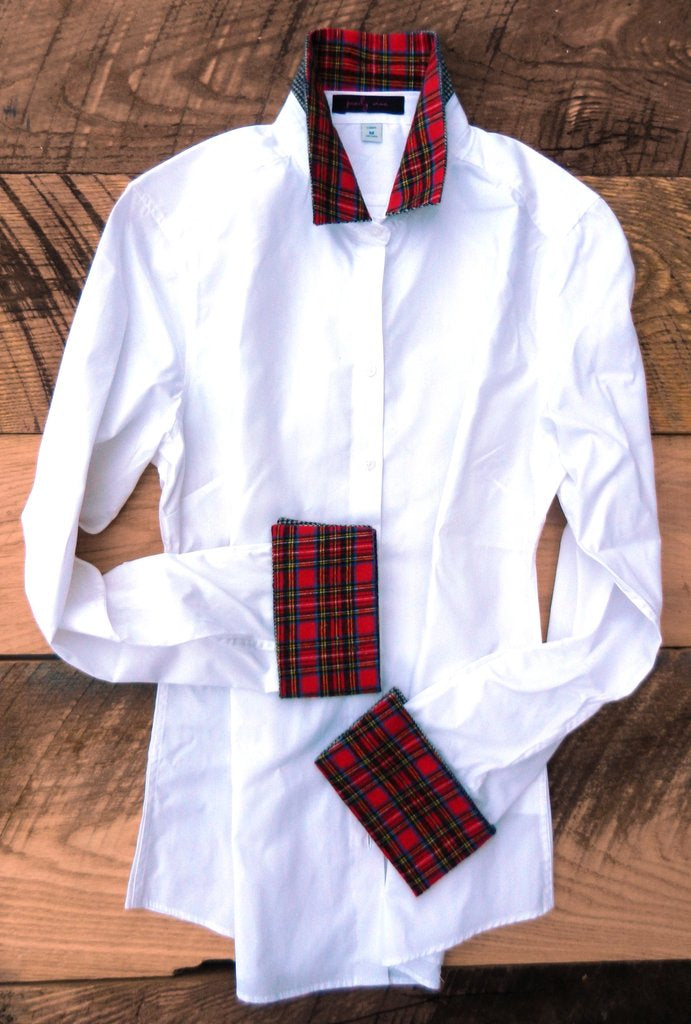 White French Cuff Shirt with Red Plaid cuff and collar by Pearly Vine