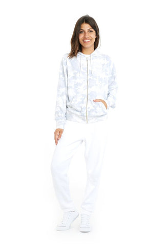 Image of Denver Zip Hoodie in White Camo by Lazy Pants