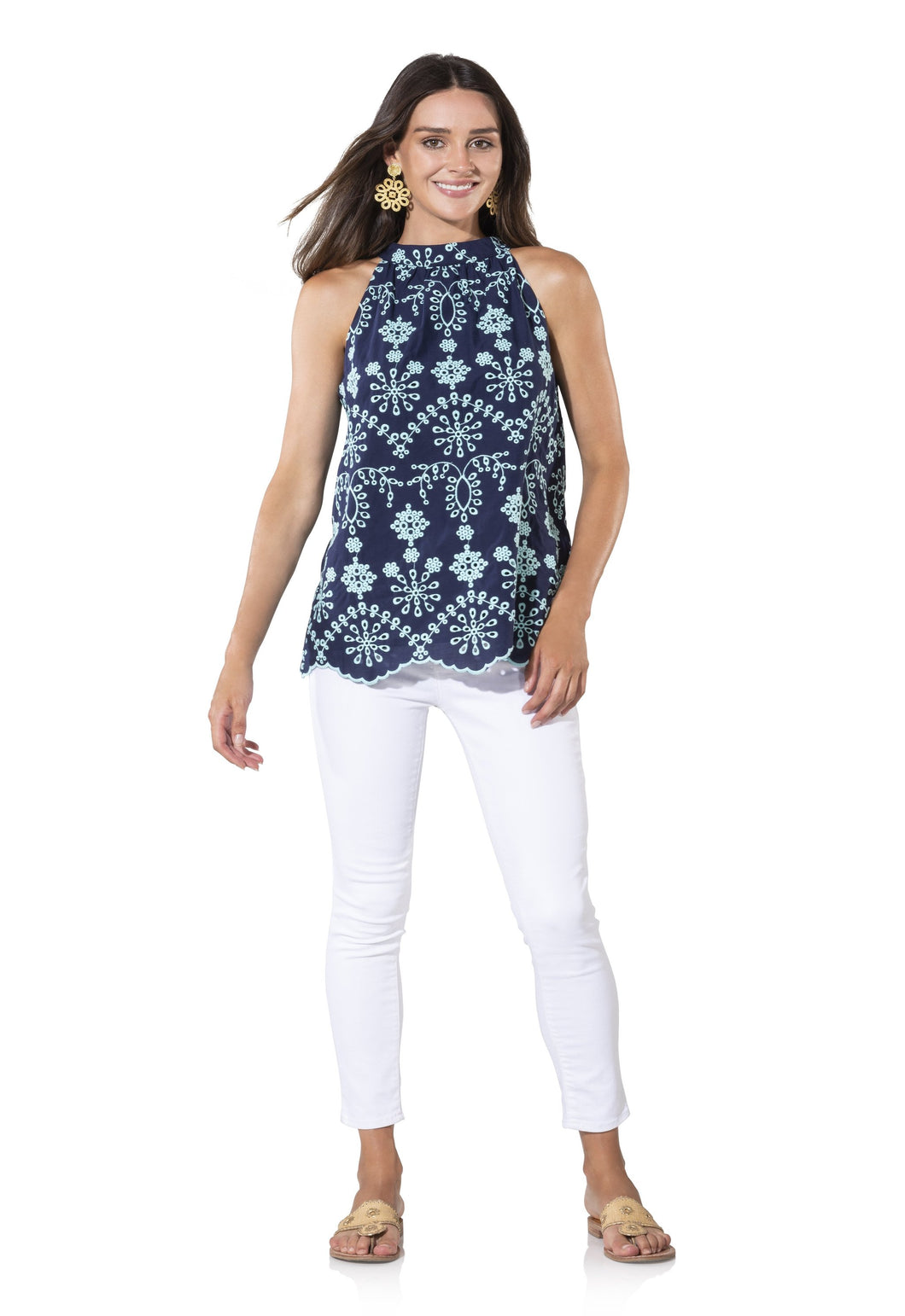 Embroidered Cotton Sleeveless Halter Top in Navy by Sail to Sable SP1959
