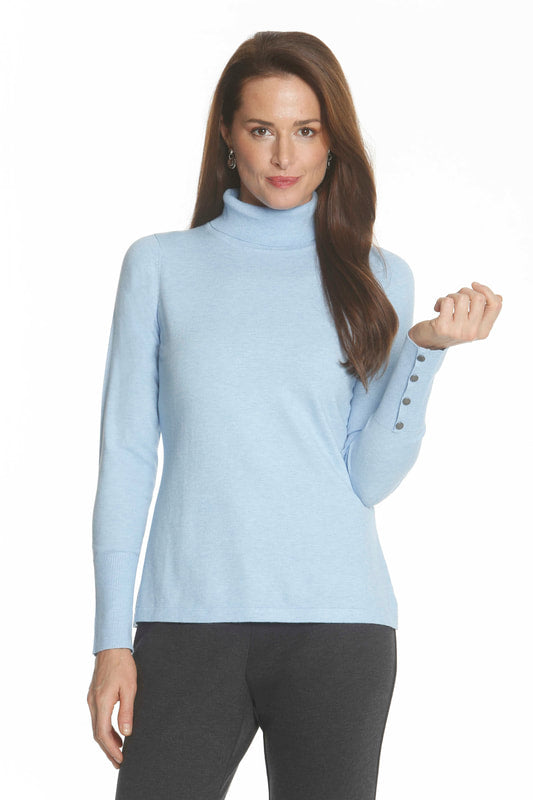 Turtleneck with button Trim at Sleee by J'Envie