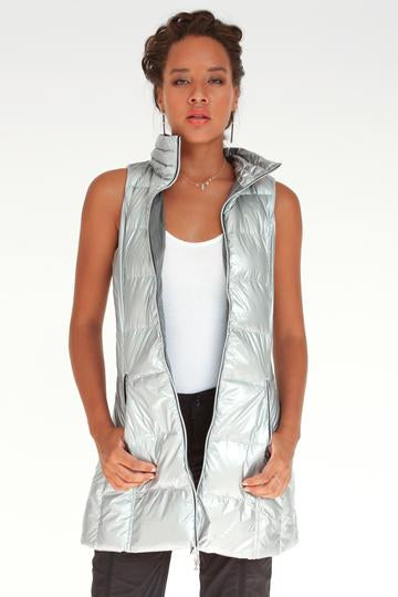 Long Down Filled Puffer Vest in Silver Metallic by My Anorak