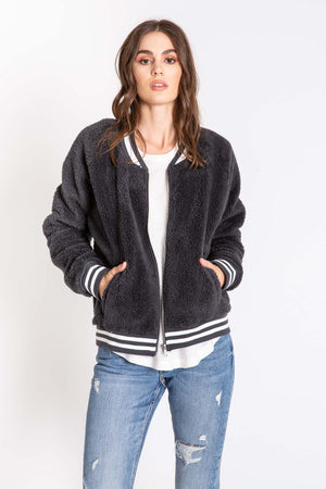 Bomber Babe Jacket in Charcoal by PJ Salvage