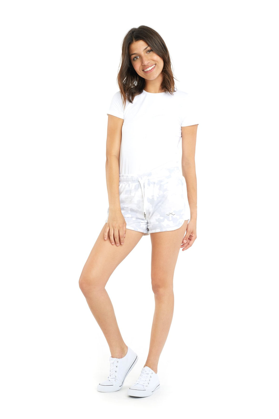 White Camo Jackie Shorts by Lazy Pants