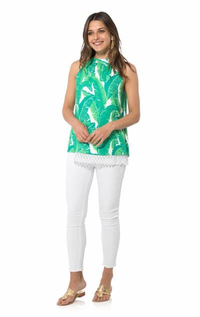 Poly Crepe Sleeveless Halter Top in Palm Print by Sail to Sable