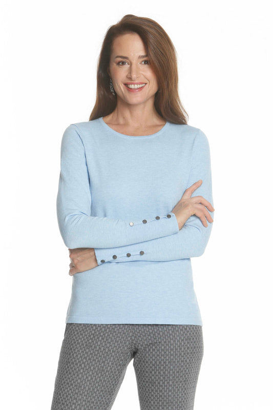 Crewneck Sweater with Button Trim in Ice blue by J'Envie