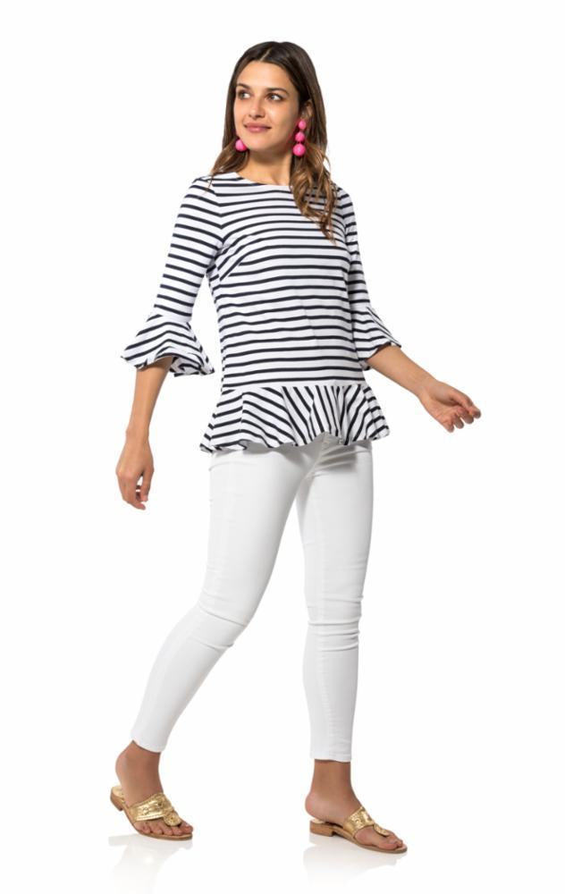 Striped Knit Long Sleeve Flounce Top in Navy/White by Sail to Sable R1807