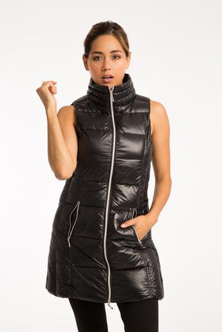 Long Down Filled Puffer Vest in Black by My Anorak