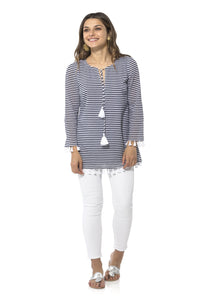 Crinkle Cotton Long Sleeved Tunic in Navy/White by Sail to Sable R1841