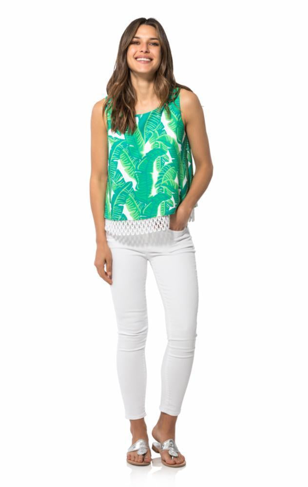 Poly Crepe Sleeveless Top in Palm Print by Sail to Sable R1892