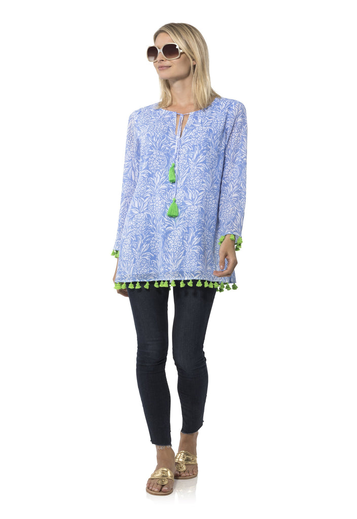 Crinkle cotton Long Sleeved tunic Top in Pineapple Print by Sail to Sable