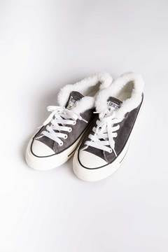 Velour Sneakers in Charcoal with Faux Fur Trim by PJ Salvage