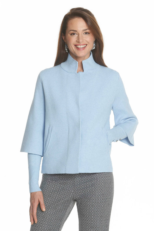 One Button Short Jacket in Ice Blue by J'Envie