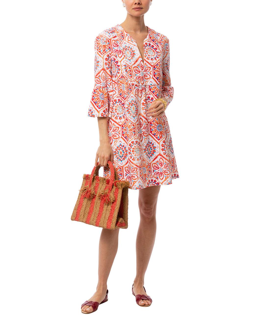 Kerry Dress in Mosaic Tile Coral by Jude Connally