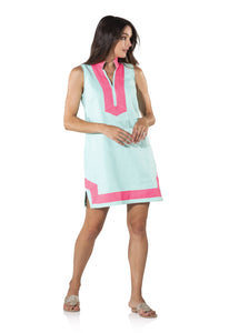 Sleeveless Classic Tunic Dress in Beachglass with pink trim by Sail to Sable