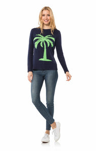 Long Sleeved Intarsia Sweater in Navy with Palm Tree by Sail to Sable R1840