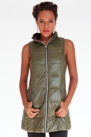 Long Down Filled Puffer Vest in Olive by My Anorak