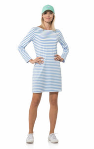 Long Sleeved striped Dress in Hydrangea/White by Sail to Sable R1845