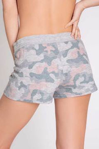 Weekend Love Shorts in Grey/Pink Camo by PJ Salvage