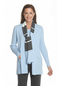 Ribbed Sleeve Cardigan in Ice Blue by J'Envie