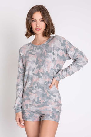 Weekend Love Long Sleeved Top in Grey/Pink Camo by PJ Salvage