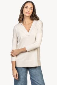 3/4 Sleeve Cotton Modal Tunic Sweater in Magnolia by Lilla P