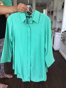 Button Back Collared Blouse in Green by Boho Chic